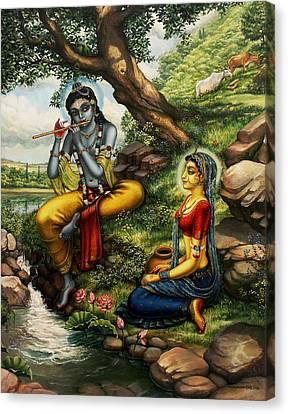 Krishna With Radha Canvas Print by Vrindavan Das