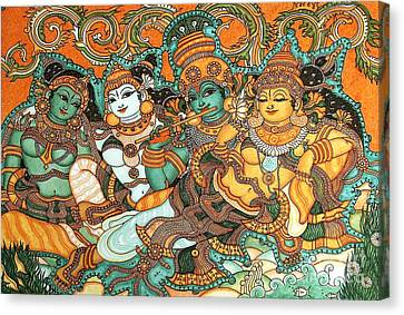 Krishna Wooing Radha Canvas Print by Pg Reproductions