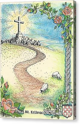 Krizevac - Cross Mountain Canvas Print by Christina Verdgeline