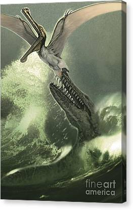 Food In Mouth Canvas Print - Kronosaurus Jumping Out Of The Water by Jan Sovak