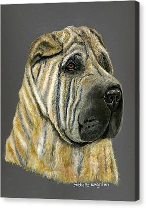 Kruger Shar Pei Portrait Canvas Print by Michelle Wrighton