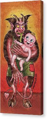 Krumpus And Baby New Year Canvas Print by David Shumate