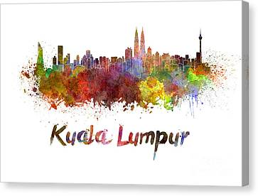 Kuala Lumpur Skyline In Watercolor Canvas Print by Pablo Romero
