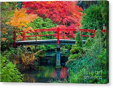 Kubota Gardens Bridge Number 2 Canvas Print by Inge Johnsson