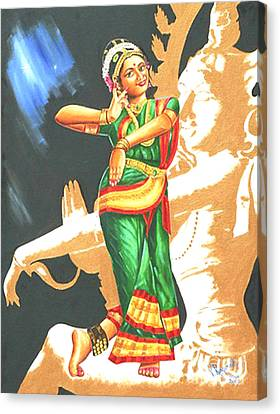 Canvas Print featuring the painting Kuchipudi- The Dance Of The Gods by Ragunath Venkatraman