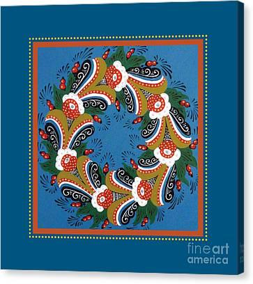 Kurbits Wreath Blue Canvas Print by Leif Sodergren