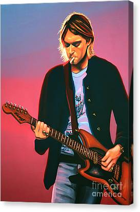 Kurt Cobain In Nirvana Painting Canvas Print
