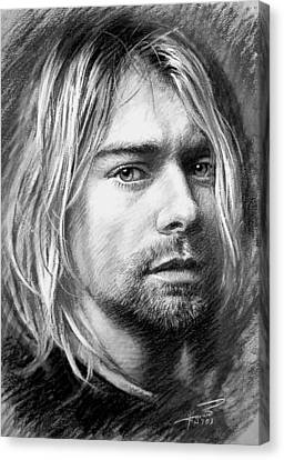 Canvas Print featuring the drawing Kurt Cobain by Viola El