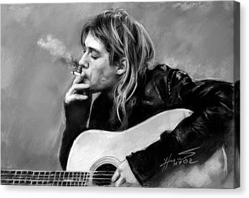 Canvas Print featuring the drawing Kurt Cobain Guitar  by Viola El