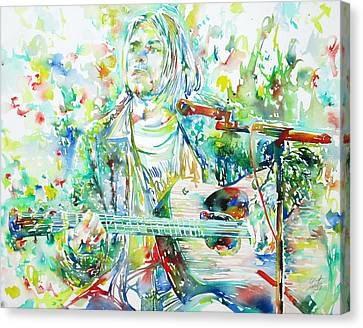 Kurt Cobain Playing The Guitar - Watercolor Portrait Canvas Print by Fabrizio Cassetta