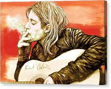 Kurt Cobain - Stylised Drawing Art Poster Canvas Print by Kim Wang