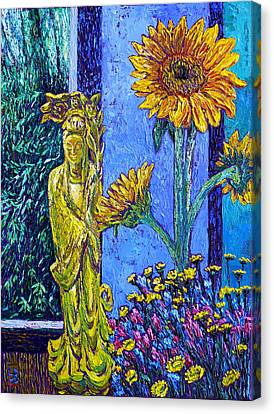 Kwan Yin With Flowers Canvas Print by Linda J Bean