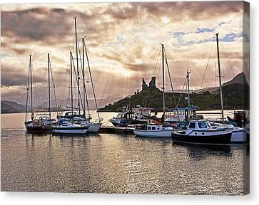 Kyleakin Harbor And Castle Moil Canvas Print by Marcia Colelli