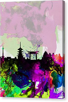Kyoto Watercolor Skyline Canvas Print by Naxart Studio