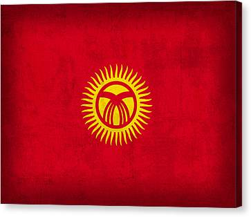 Kyrgyzstan Canvas Print - Kyrgyzstan Flag Vintage Distressed Finish by Design Turnpike