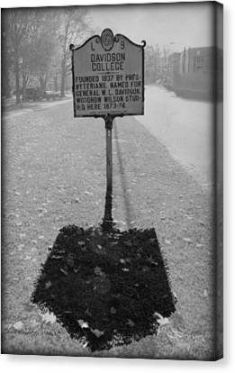 L 9 Davidson College Historical Marker Bw Canvas Print by Paulette B Wright