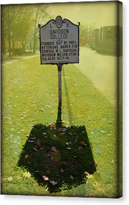 L 9 Davidson College Historical Marker Canvas Print by Paulette B Wright