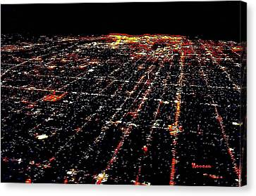 L A Skyscape At Night Canvas Print by Sadie Reneau