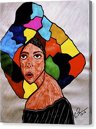 Canvas Print featuring the drawing La Artista by Chrissy  Pena