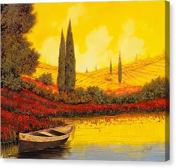 La Barca Al Tramonto Canvas Print by Guido Borelli