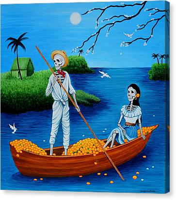 Canvas Print featuring the painting La Barca by Evangelina Portillo
