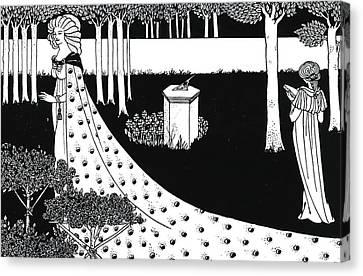 La Beale Isoud At Joyous Gard Canvas Print by Aubrey Beardsley
