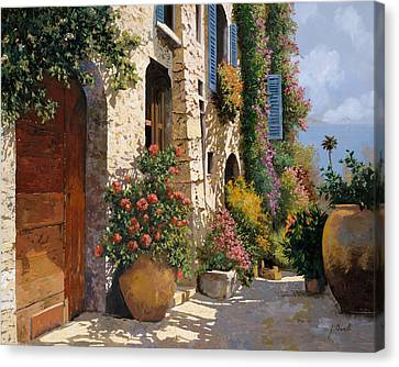 Street Lights Canvas Print - La Bella Strada by Guido Borelli