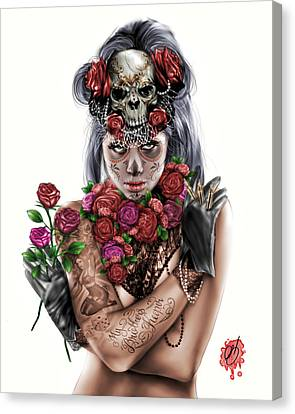 Woman Drawings Drawings Canvas Print - La Calavera Catrina by Pete Tapang