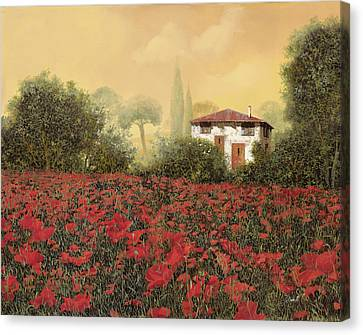 La Casa E I Papaveri Canvas Print by Guido Borelli