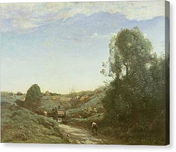 Horse And Cart Canvas Print - La Charette, Memory Of Marcoussis Oil On Canvas by Jean Baptiste Camille Corot