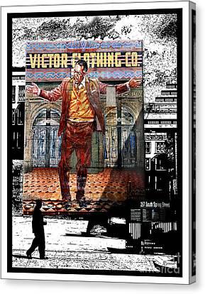 Canvas Print featuring the digital art La City Beat Digitized by Jennie Breeze
