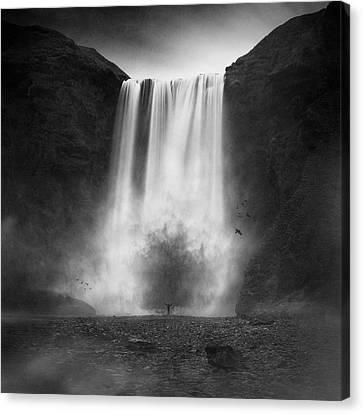 Sombre Canvas Print - La Cola?re Du Dragon by Sebastien Del Grosso