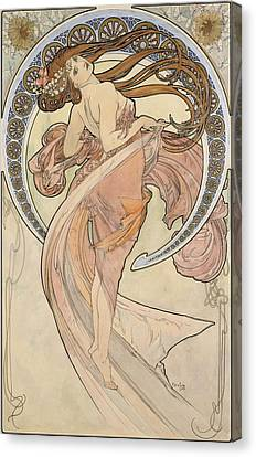 La Danse, 1898 Watercolour On Card Canvas Print by Alphonse Marie Mucha