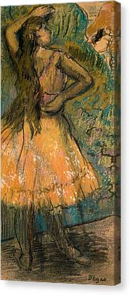 Girl Studying Canvas Print - La Danseuse by Edgar Degas