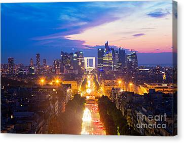 La Defense And Champs Elysees At Sunset In Paris France Canvas Print by Michal Bednarek