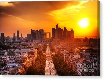 La Defense And Champs Elysees At Sunset Canvas Print by Michal Bednarek