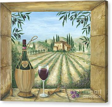 Glass Of Wine Canvas Print - La Dolce Vita by Marilyn Dunlap