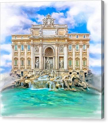 La Dolce Vita - The Trevi Fountain In Rome Canvas Print by Mark E Tisdale
