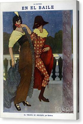 La Esfera 1910s Spain Cc Harlequins Canvas Print by The Advertising Archives