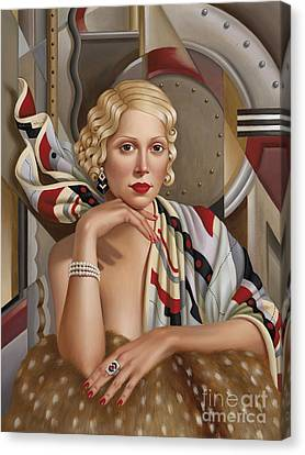 Art Deco Jewelry Canvas Print - La Femmeen Soiehi  by Catherine Abel