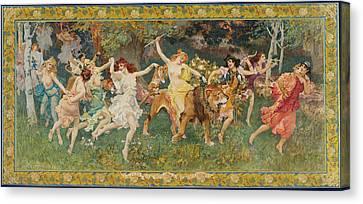 La Bacchante Canvas Print - La Fete Des Bois. Les Bacchantes by Frederick Arthur Bridgman