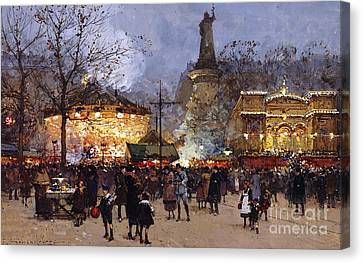 La Fete Place De La Republique Paris Canvas Print by Eugene Galien-Laloue