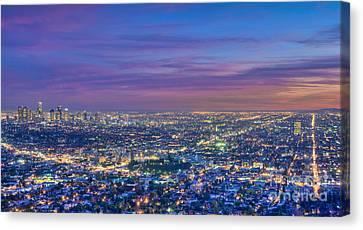La Fiery Sunset Cityscape Skyline Canvas Print by David Zanzinger