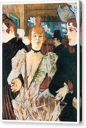 La Goule Arriving At The Moulin Rouge With Two Women Canvas Print by Henri Toulouse-Lautrec