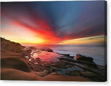 La Jolla Art Canvas Print - La Jolla Reef Sunset 13 by Larry Marshall