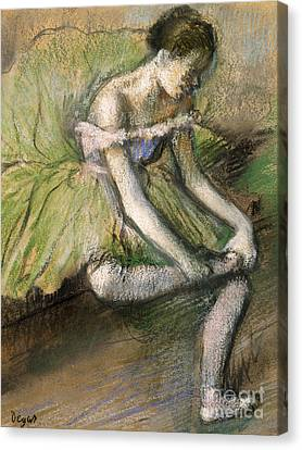 Ballet Dancers Canvas Print - La Jupe Verte by Edgar Degas