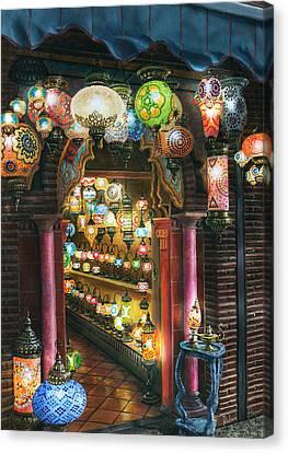 La Lamparareia En La Noche Albacin Granada Canvas Print by Richard Harpum