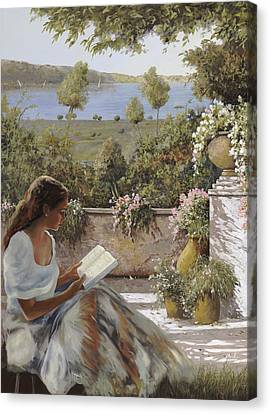 La Lettura All'ombra Canvas Print by Guido Borelli