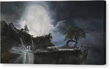 La Luna Bianca Canvas Print by Guido Borelli