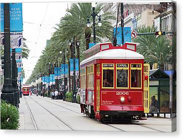 La, New Orleans, Canal Street Trolley Canvas Print by Jamie and Judy Wild
